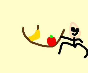 A shiny fruit basket