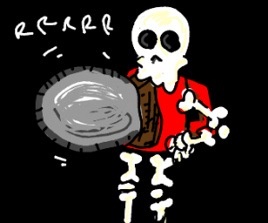 black bg, chainsaw, skeleton