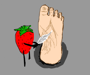Strawberry fulfills foot fetish and tickle