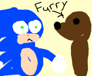 A scared Sanic meets a furry for the first ti