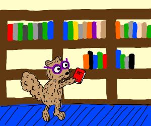 fussy squirrel librarian, purple glasses