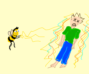 a bee uses lightning powers to kill person