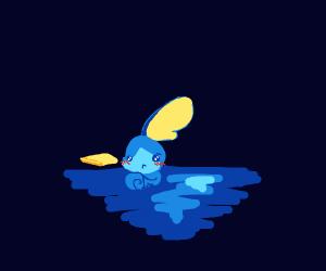 Sobble blushes, as you saw it bathing