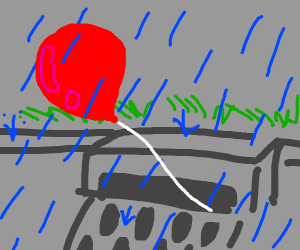 red baloon floating away from sewer