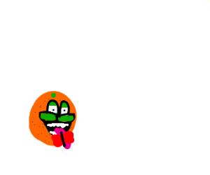 Scary orange eats butterflies