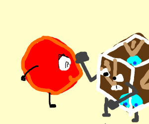 Steve but round fights a brown block