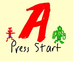 Avengers logo. PRESS START