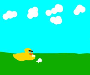 sad duck dropped ice cream