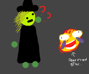 A witch is confused by the laughing emoji