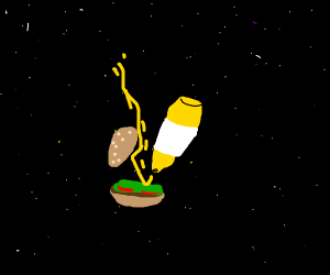 Putting mustard on burger in space