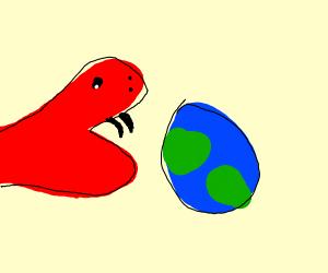 snake eating earth