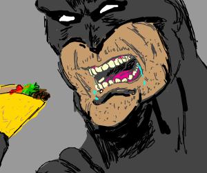 batman eating a taco