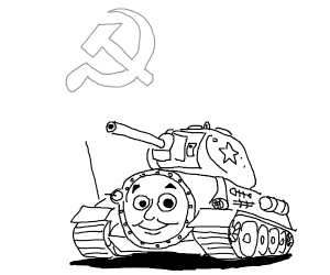 Thomas the Tank Engine as a Russian tank