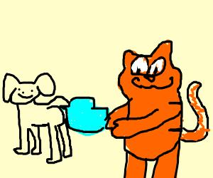 Garfield puts Twitter bird into dog's butt