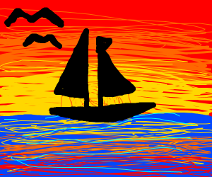 sailboat in front of a sunset