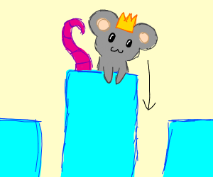 Mouse king looks down from the tallest tower