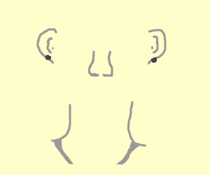 Human head: just neck, ears and nose.