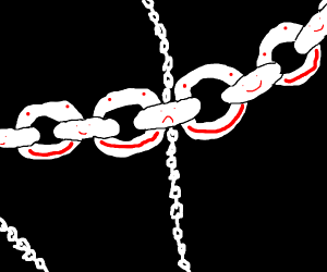 A chain piece depressed