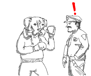 Dog beats up crooked cop