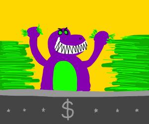 barney the dinosaur loves money