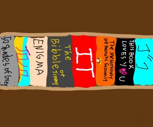 Bookshelf with colourful books