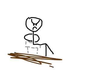 Angry stickman sits on invisible chair