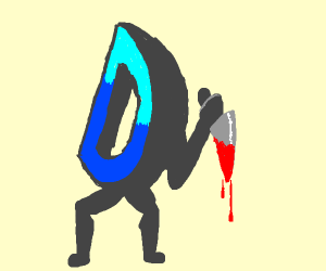 drawception d with knife which has blood on