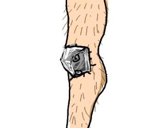 Hairy human leg with metal kneecap