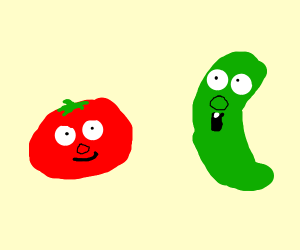 Bob the tomato and Larry the cucumber