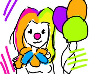 Clown woman with rainbow hair