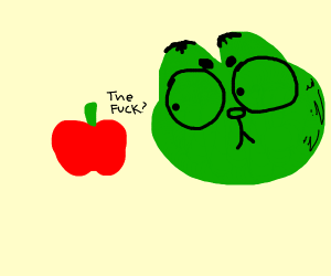 weird green alien bug is angry at an apple