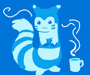 Furret with coffee