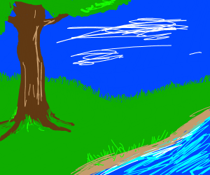 Beautiful landscape w/ creek, trees, grass