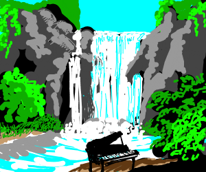 Piano with music in front of a waterfall