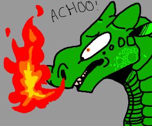Dragon sneezes fire