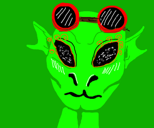 alien with red goggles