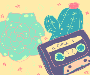 Flower, Cactus, and VHS tape that says CHILL