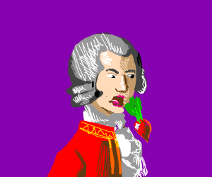 Mozart vomiting a Radish