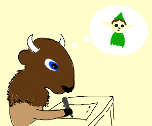 Bison writing a letter to Elf