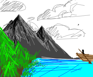 """A boat next to mountains on a """"cloudy"""" day"""