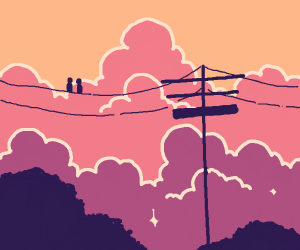 two birds on a telephone wire