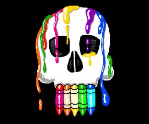 Crayons drip on skull