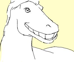 White unicorn with big shiny teeth