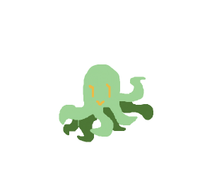 Green octopus with yellow eyes