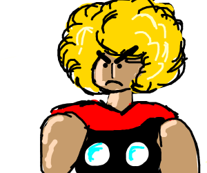 Angry superhero with cape and large hair