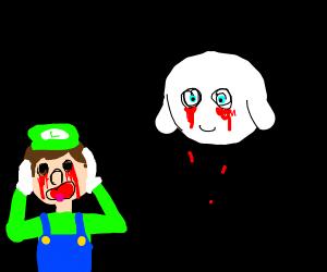 Boo steals Luigi's eyes
