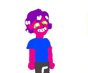 Pink guy with large nose and blue shirt.