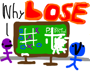 person in purple plays Tic-Tac-Toe game