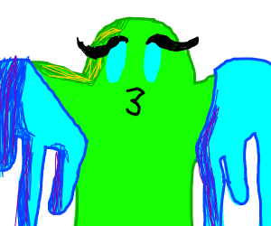 Blue and green slime man has a pretty face