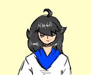 cute anime girl with black short hair